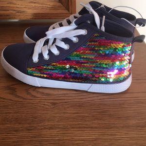 New Cat & Jack Navy Girls sequin sneakers size 2